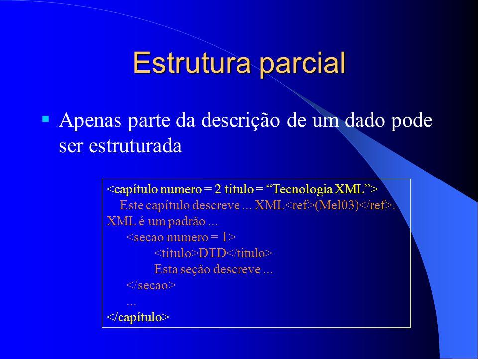 Estrutura parcial Apenas parte da descrição de um dado pode ser estruturada Este capítulo descreve...