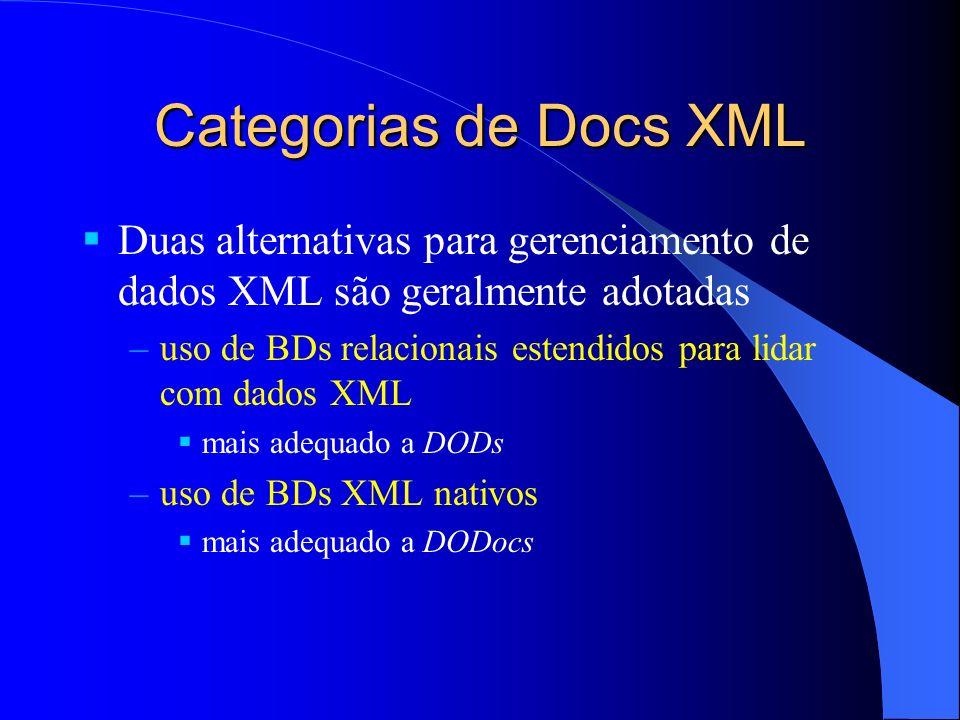 Duas alternativas para gerenciamento de dados XML são geralmente adotadas –uso de BDs relacionais estendidos para lidar com dados XML mais adequado a DODs –uso de BDs XML nativos mais adequado a DODocs Categorias de Docs XML