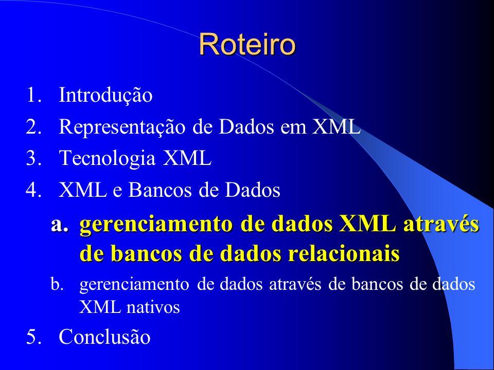 Roteiro 1.Introdução 2.Representação de Dados em XML 3.Tecnologia XML 4.XML e Bancos de Dados a.gerenciamento de dados XML através de bancos de dados relacionais b.gerenciamento de dados através de bancos de dados XML nativos 5.Conclusão