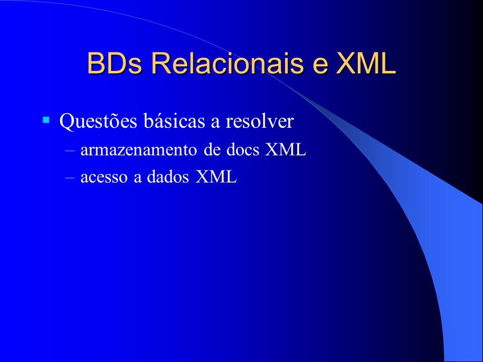 BDs Relacionais e XML Questões básicas a resolver –armazenamento de docs XML –acesso a dados XML