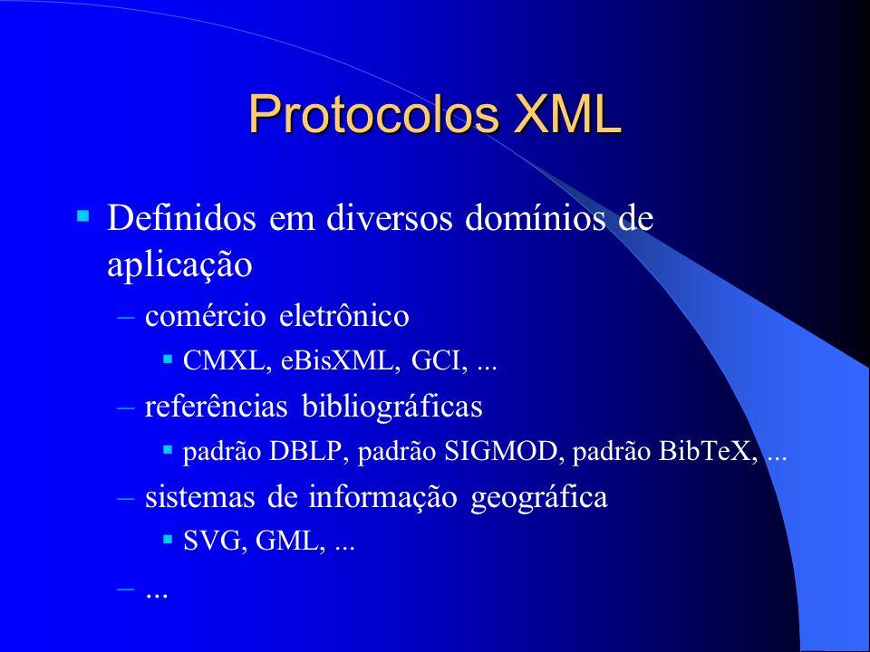 Protocolos XML Definidos em diversos domínios de aplicação –comércio eletrônico CMXL, eBisXML, GCI,...