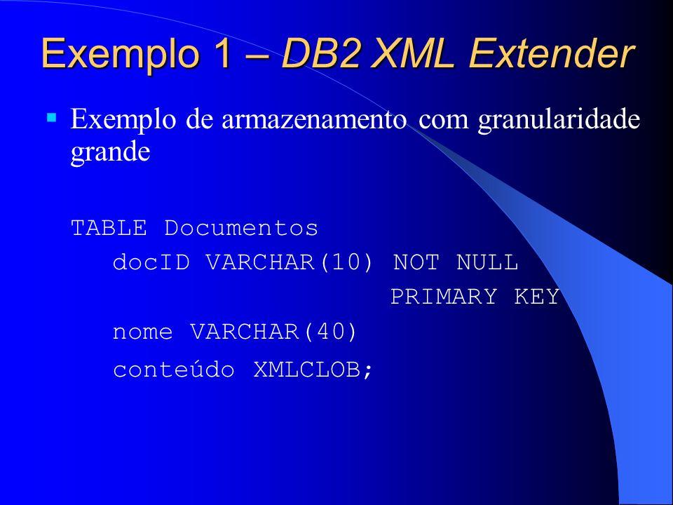 Exemplo 1 – DB2 XML Extender Exemplo de armazenamento com granularidade grande TABLE Documentos docID VARCHAR(10) NOT NULL PRIMARY KEY nome VARCHAR(40) conteúdo XMLCLOB;
