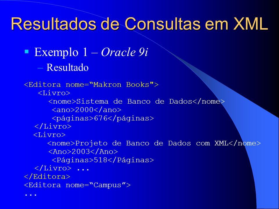 Resultados de Consultas em XML Exemplo 1 – Oracle 9i –Resultado Sistema de Banco de Dados 2000 676 Projeto de Banco de Dados com XML 2003 518......