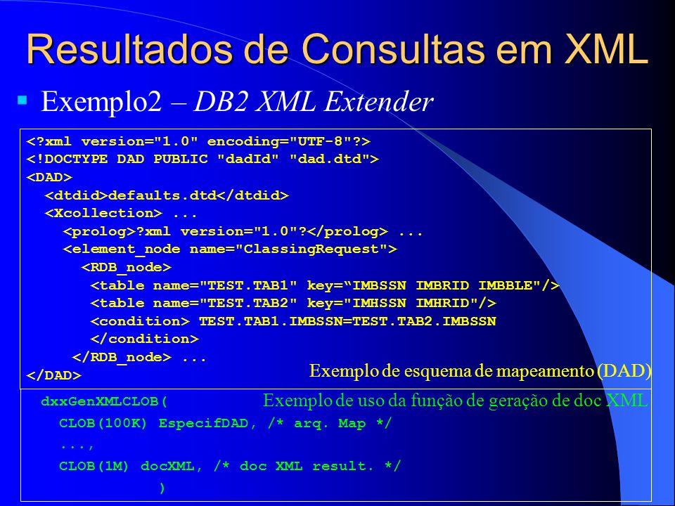 Resultados de Consultas em XML Exemplo2 – DB2 XML Extender dxxGenXMLCLOB( CLOB(100K) EspecifDAD, /* arq.
