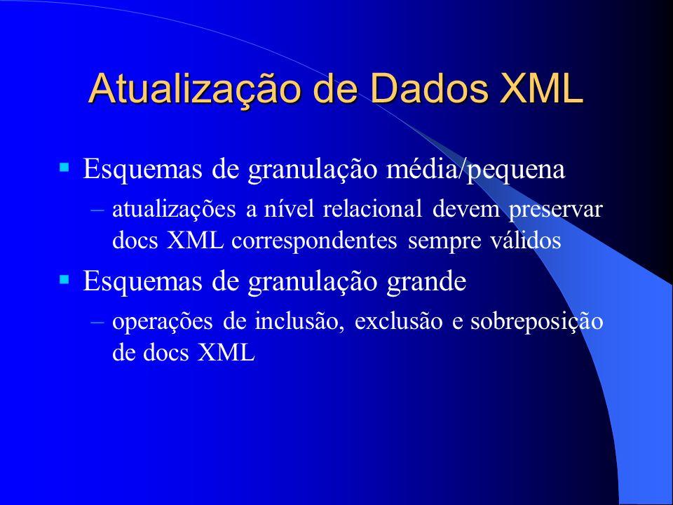 Atualização de Dados XML Esquemas de granulação média/pequena –atualizações a nível relacional devem preservar docs XML correspondentes sempre válidos Esquemas de granulação grande –operações de inclusão, exclusão e sobreposição de docs XML