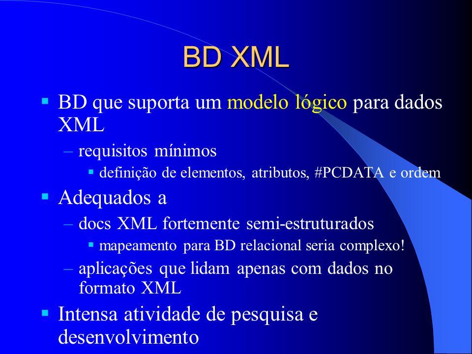 BD XML BD que suporta um modelo lógico para dados XML –requisitos mínimos definição de elementos, atributos, #PCDATA e ordem Adequados a –docs XML fortemente semi-estruturados mapeamento para BD relacional seria complexo.