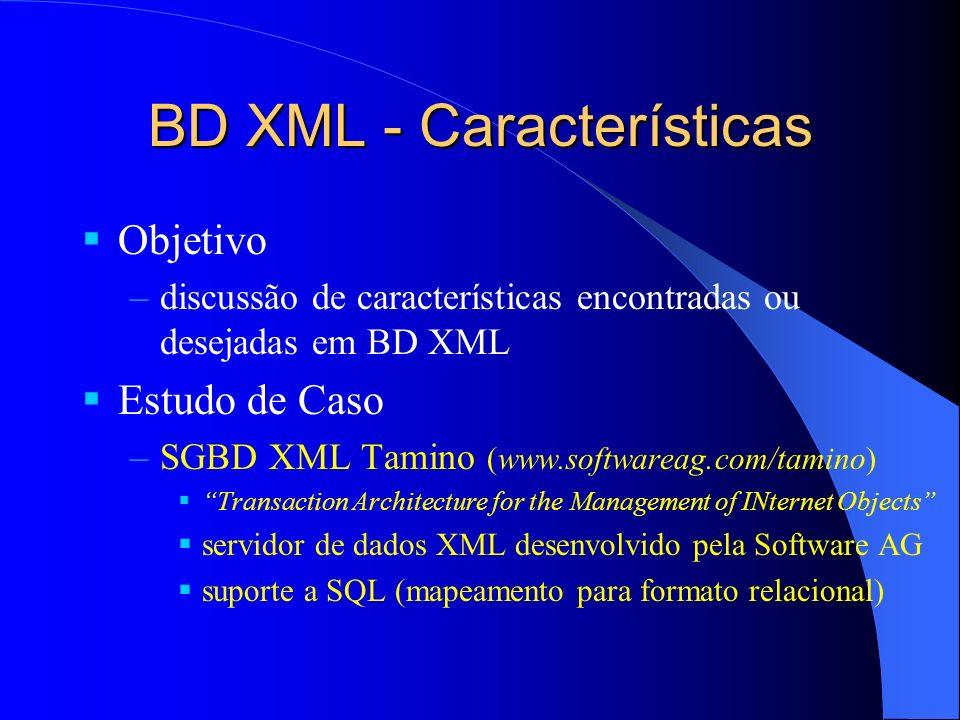 BD XML - Características Objetivo –discussão de características encontradas ou desejadas em BD XML Estudo de Caso –SGBD XML Tamino (www.softwareag.com/tamino) Transaction Architecture for the Management of INternet Objects servidor de dados XML desenvolvido pela Software AG suporte a SQL (mapeamento para formato relacional)