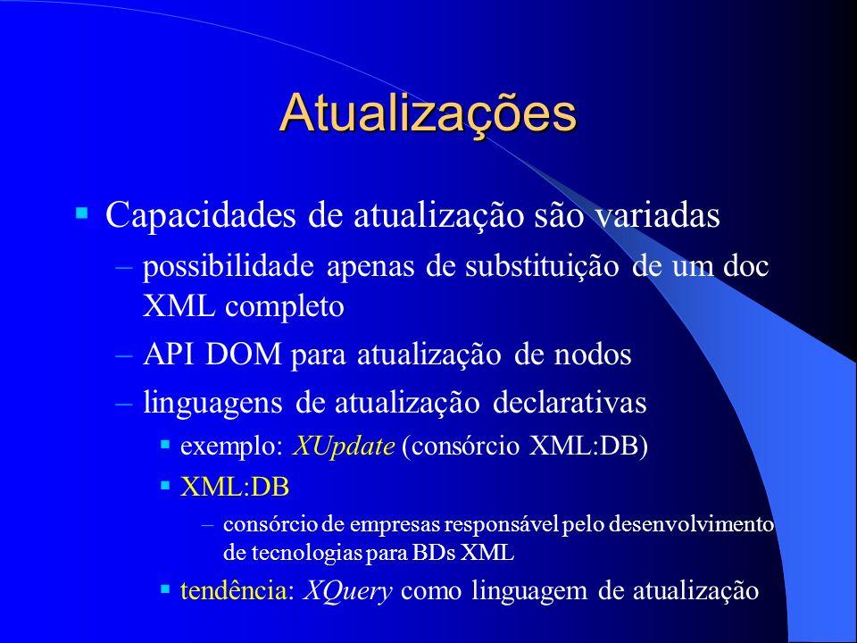 Atualizações Capacidades de atualização são variadas –possibilidade apenas de substituição de um doc XML completo –API DOM para atualização de nodos –linguagens de atualização declarativas exemplo: XUpdate (consórcio XML:DB) XML:DB –consórcio de empresas responsável pelo desenvolvimento de tecnologias para BDs XML tendência: XQuery como linguagem de atualização