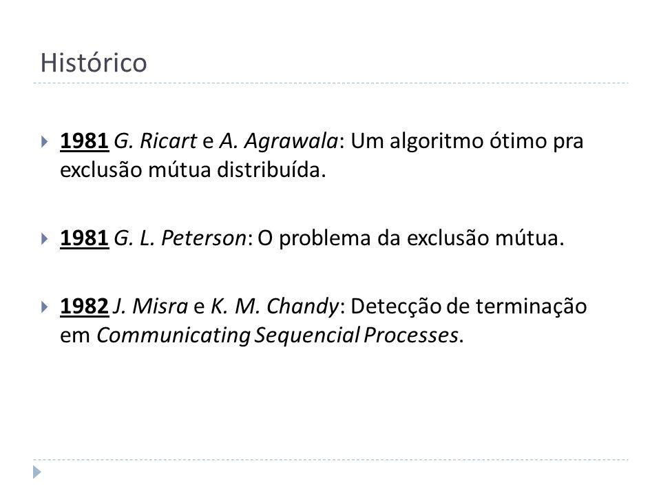 Histórico 1981 G. Ricart e A. Agrawala: Um algoritmo ótimo pra exclusão mútua distribuída. 1981 G. L. Peterson: O problema da exclusão mútua. 1982 J.