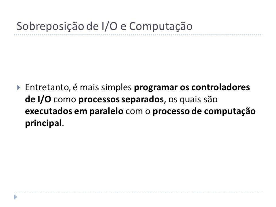 Sobreposição de I/O e Computação Entretanto, é mais simples programar os controladores de I/O como processos separados, os quais são executados em par
