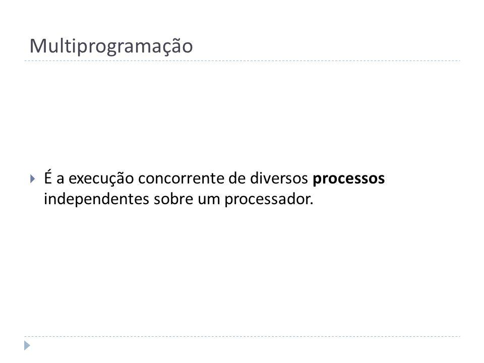 Multiprogramação É a execução concorrente de diversos processos independentes sobre um processador.