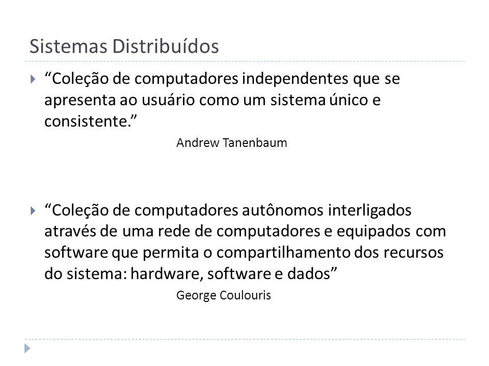 Sistemas Distribuídos Coleção de computadores independentes que se apresenta ao usuário como um sistema único e consistente. Andrew Tanenbaum Coleção