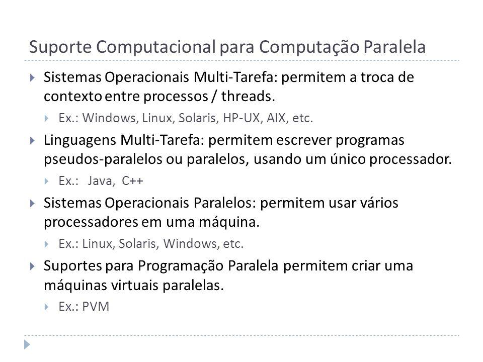 Suporte Computacional para Computação Paralela Sistemas Operacionais Multi-Tarefa: permitem a troca de contexto entre processos / threads. Ex.: Window