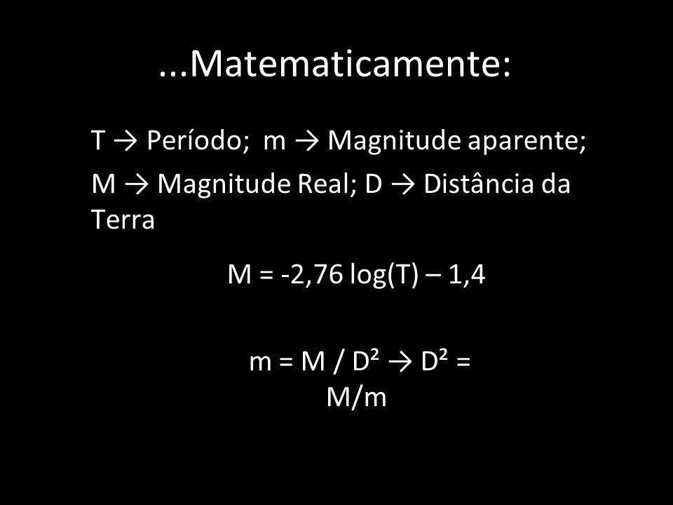 ...Matematicamente: T Período; m Magnitude aparente; M Magnitude Real; D Distância da Terra M = -2,76 log(T) – 1,4 m = M / D² D² = M/m