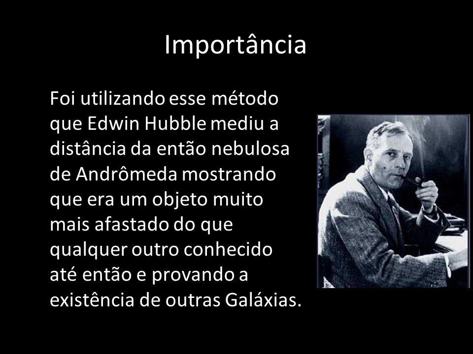 Importância Foi utilizando esse método que Edwin Hubble mediu a distância da então nebulosa de Andrômeda mostrando que era um objeto muito mais afasta