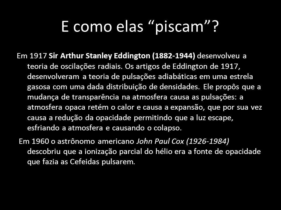 E como elas piscam? Em 1917 Sir Arthur Stanley Eddington (1882-1944) desenvolveu a teoria de oscilações radiais. Os artigos de Eddington de 1917, dese