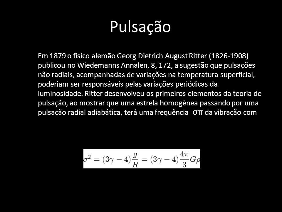 Pulsação Em 1879 o físico alemão Georg Dietrich August Ritter (1826-1908) publicou no Wiedemanns Annalen, 8, 172, a sugestão que pulsações não radiais