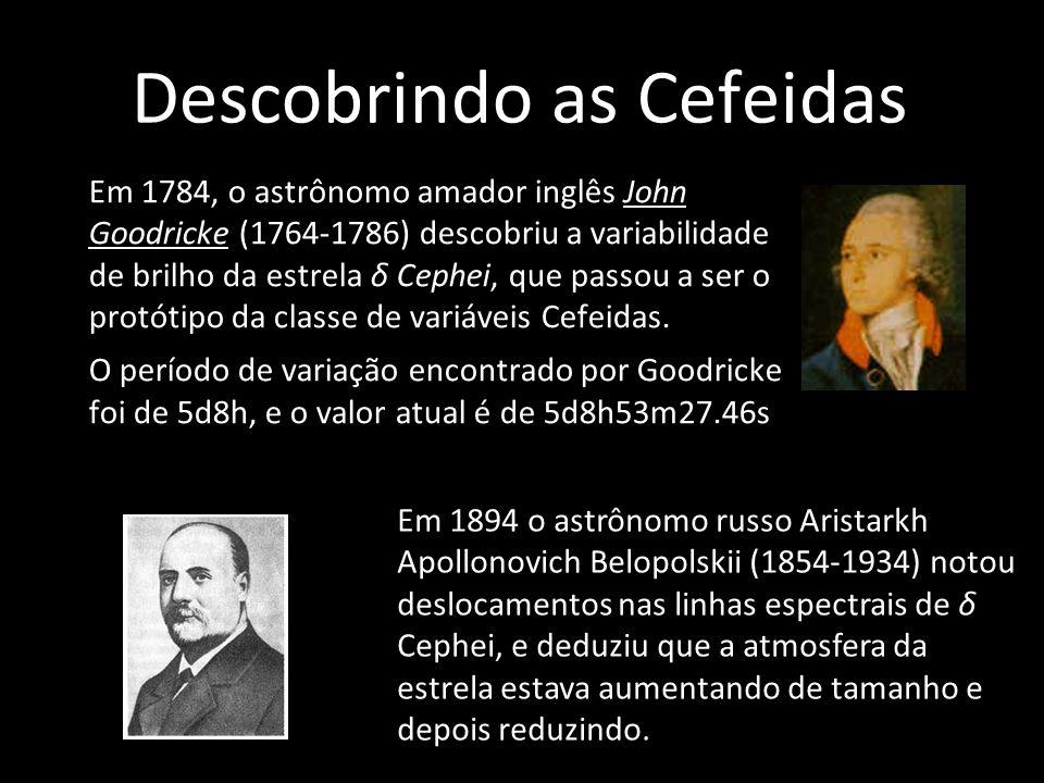 Descobrindo as Cefeidas Em 1784, o astrônomo amador inglês John Goodricke (1764-1786) descobriu a variabilidade de brilho da estrela δ Cephei, que pas