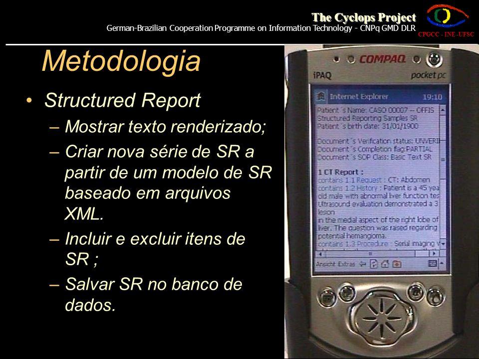 Metodologia Structured Report –Mostrar texto renderizado; –Criar nova série de SR a partir de um modelo de SR baseado em arquivos XML. –Incluir e excl