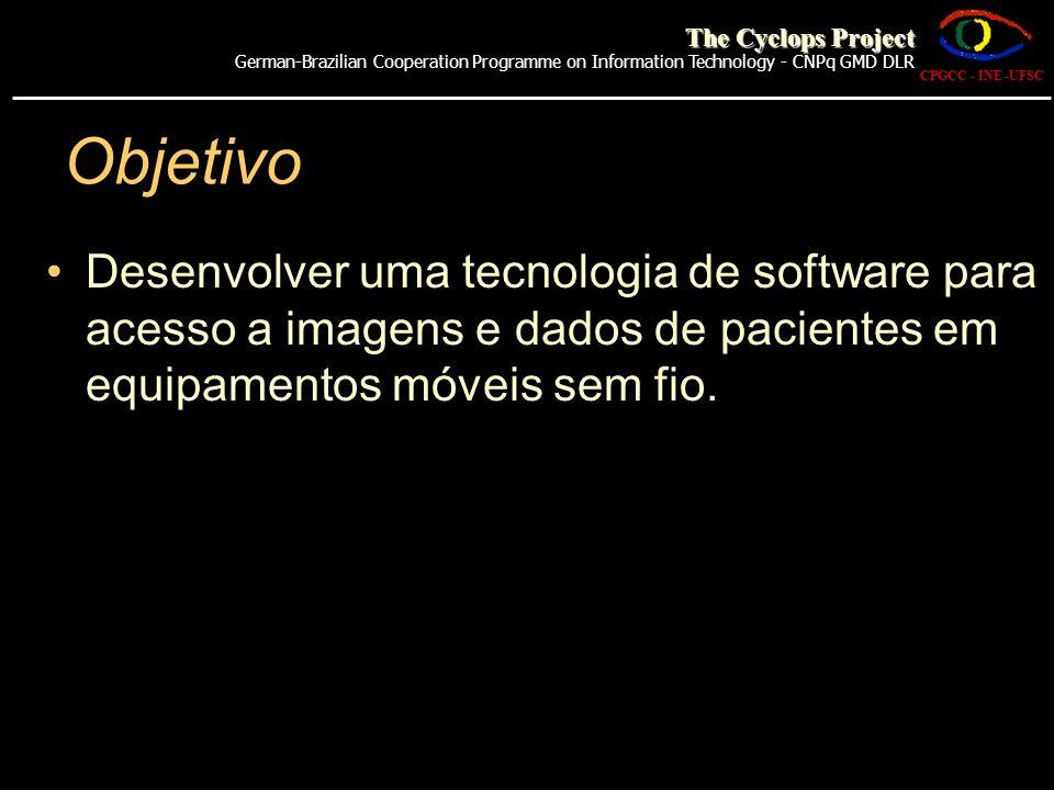 Objetivo Desenvolver uma tecnologia de software para acesso a imagens e dados de pacientes em equipamentos móveis sem fio. CPGCC - INE -UFSC The Cyclo