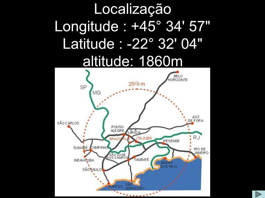 Sobre a Localização do OPD Comentário: O Observatório do Pico dos Dias está localizado entre os municípios sul-mineiros de Brazópolis e Piranguçu, a 1864m de altitude, 900m acima do nível médio da região, nas coordenadas geográficas: Longitude : +45° 34 57 Latitude : -22° 32 04 A 37km de Itajubá, 300km do Rio de Janeiro e 250km de São Paulo, o acesso se faz por 12km de estrada de terra a partir da rodovia MG295.