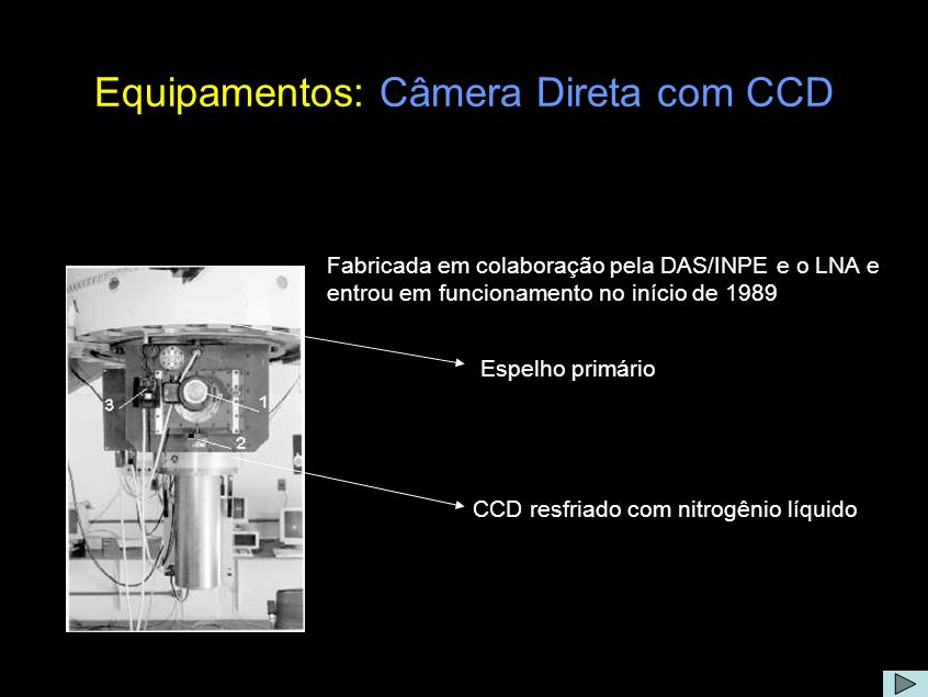 Equipamentos: Câmera Direta com CCD Comentário: Em vez de movimentar a ocular para fora do eixo óptico como é feito quando se quer guiar medidas com os fotômetros, na câmara 1 a ocular fica fixa e um conjunto óptico movimenta-se dentro da câmara sob comando externo, permitindo a exploração do céu em torno do alvo.