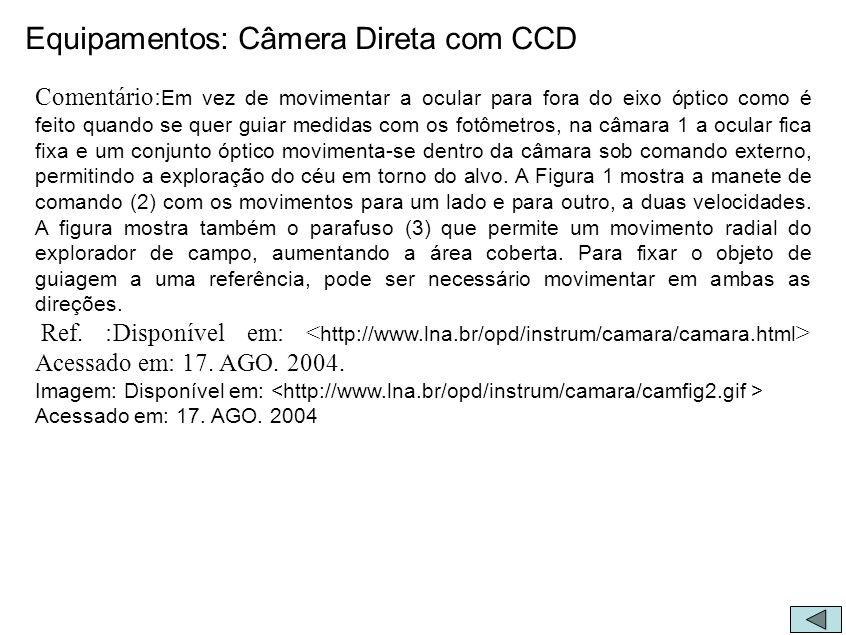 Equipamentos: Câmera Direta com CCD Comentário: Em vez de movimentar a ocular para fora do eixo óptico como é feito quando se quer guiar medidas com o