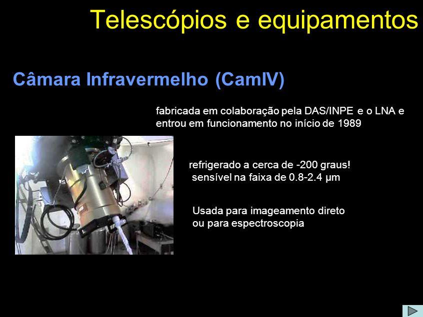 Camara Infravermelho (CAMIV) Comentário: A CamIV é baseada em um detetor do tipo HAWAII (Rockwell Sci.) de 1024 x 1024 pixels de 18.5 µm/pixel, refrigerado a 77 K e sensível na faixa de 0.8-2.4 µm.