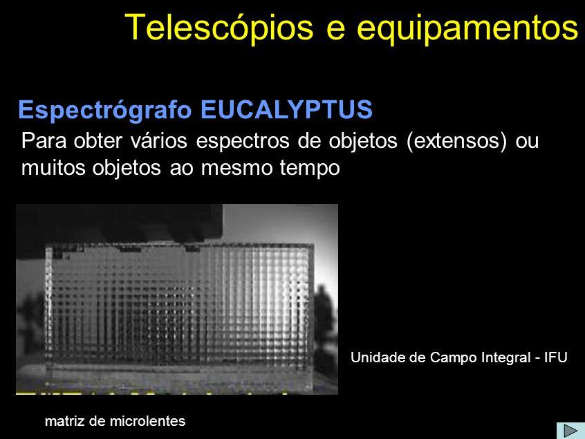 Telescópios e equipamentos Para obter vários espectros de objetos (extensos) ou muitos objetos ao mesmo tempo Espectrógrafo EUCALYPTUS Unidade de Camp