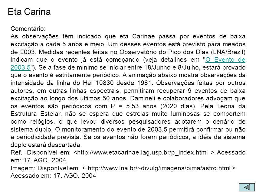 Comentário: As observações têm indicado que eta Carinae passa por eventos de baixa excitação a cada 5 anos e meio. Um desses eventos está previsto par