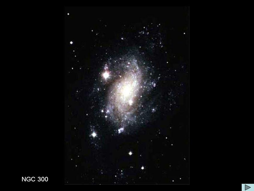 Galáxia NGC 300 Comentário:Explanation: NGC 300 é uma típica sgaláxia espiral do tipo-SC no vizinho Sgrupo de Galaxias Sculptor, NGC 300 mostra um típico braço espiral azul um núcelo compacto como esperado para esse tipo de galáxia, além dos objetos galácticos como estrelas, aglomerados de estrelas, and nebulosas O estudo de NGC 300 deverão indicar o comportamento de uma típ[ica e normal galáxia espiral.