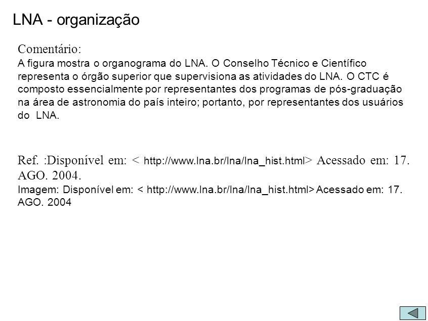 LNA - organização Comentário: A figura mostra o organograma do LNA. O Conselho Técnico e Científico representa o órgão superior que supervisiona as at