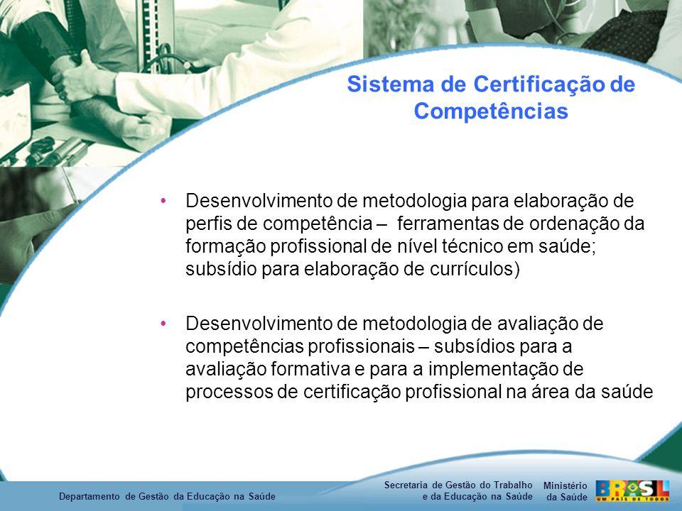 Ministério da Saúde Secretaria de Gestão do Trabalho e da Educação na Saúde Departamento de Gestão da Educação na Saúde Sistema de Certificação de Competências Desenvolvimento de metodologia para elaboração de perfis de competência – ferramentas de ordenação da formação profissional de nível técnico em saúde; subsídio para elaboração de currículos) Desenvolvimento de metodologia de avaliação de competências profissionais – subsídios para a avaliação formativa e para a implementação de processos de certificação profissional na área da saúde