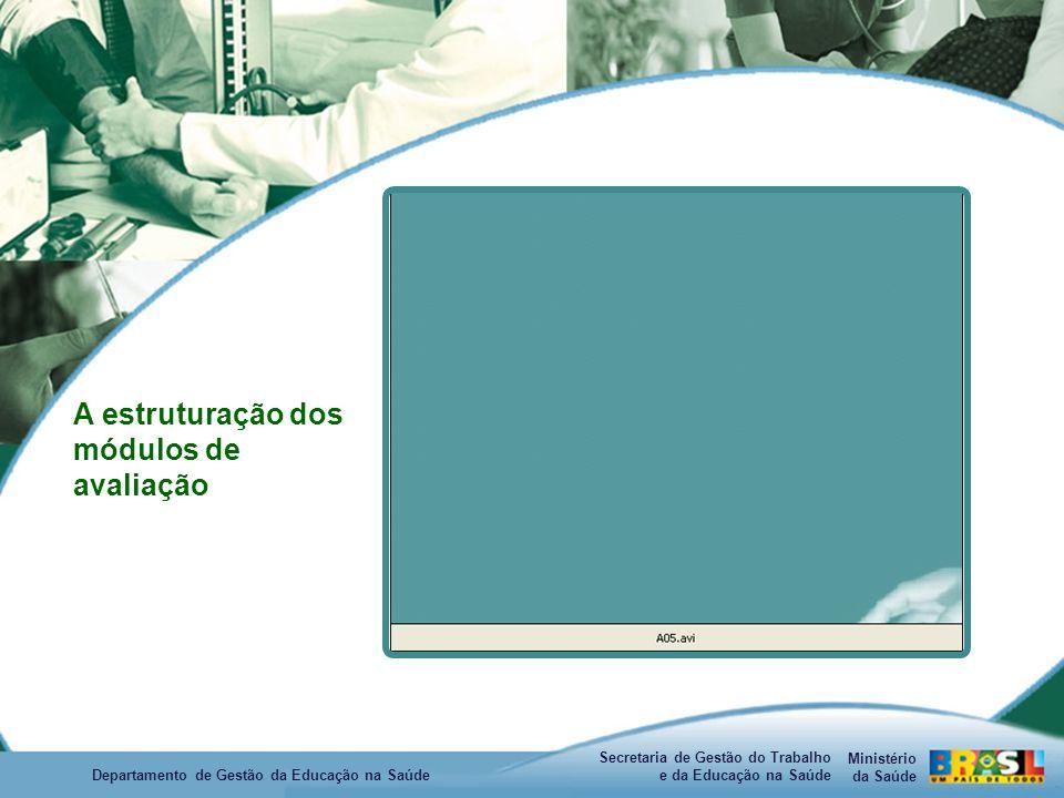 Ministério da Saúde Secretaria de Gestão do Trabalho e da Educação na Saúde Departamento de Gestão da Educação na Saúde A estruturação dos módulos de avaliação