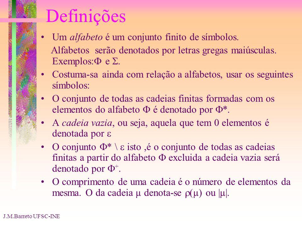 J.M.Barreto UFSC-INE Definições Um alfabeto é um conjunto finito de símbolos. Alfabetos serão denotados por letras gregas maiúsculas. Exemplos: e. Cos