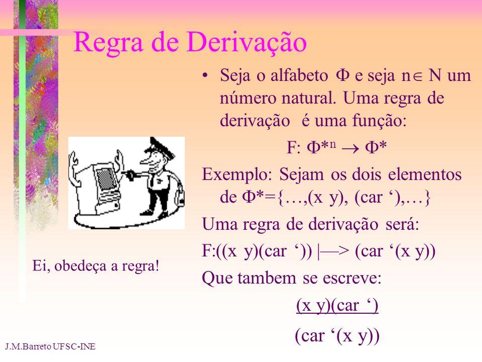 J.M.Barreto UFSC-INE Regra de Derivação Seja o alfabeto e seja n N um número natural. Uma regra de derivação é uma função: F: * n * Exemplo: Sejam os