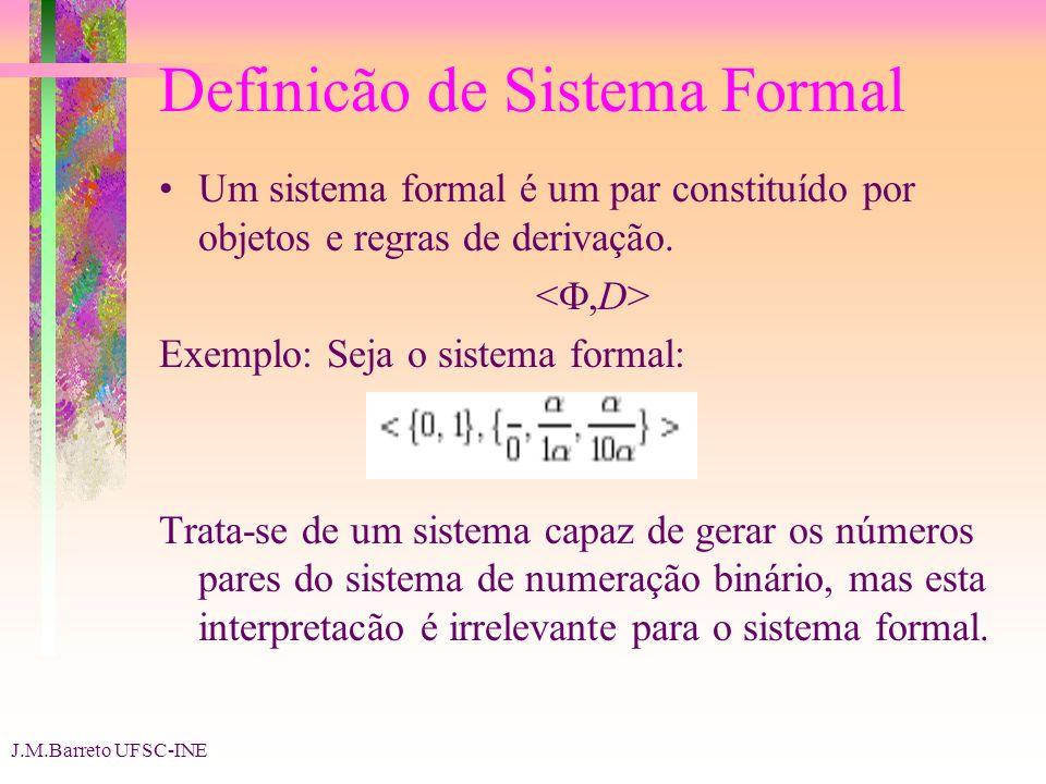 J.M.Barreto UFSC-INE Definicão de Sistema Formal Um sistema formal é um par constituído por objetos e regras de derivação. Exemplo: Seja o sistema for