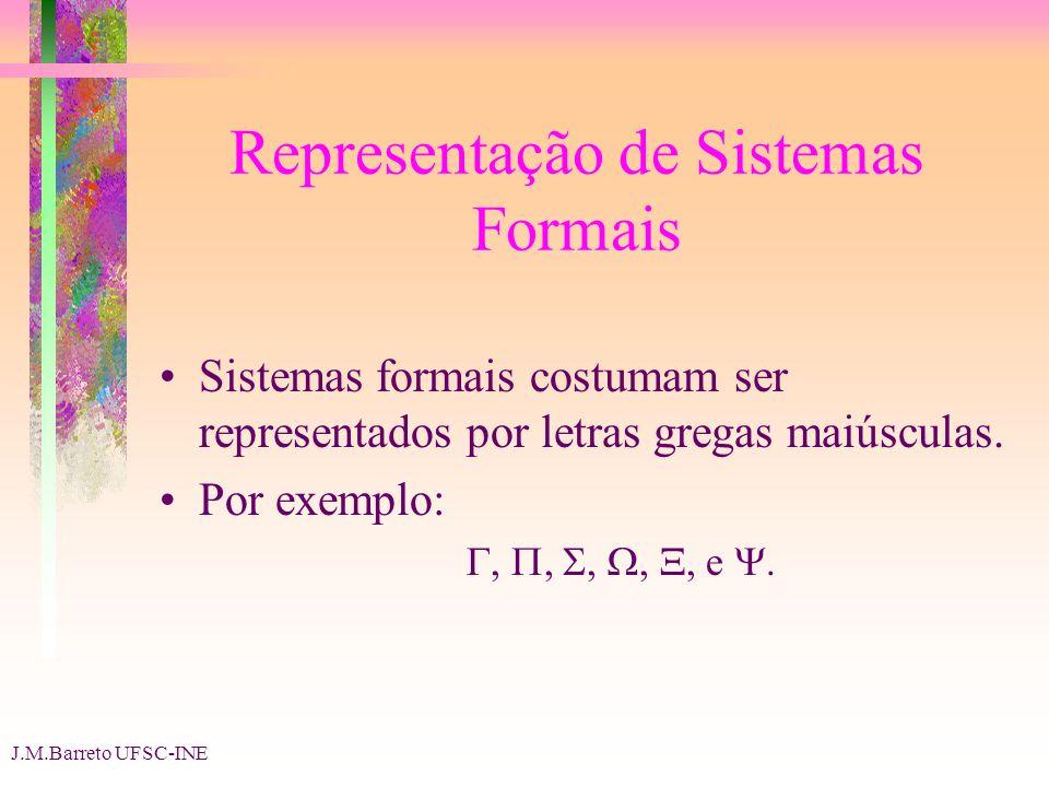 J.M.Barreto UFSC-INE Representação de Sistemas Formais Sistemas formais costumam ser representados por letras gregas maiúsculas. Por exemplo:,,,,, e.
