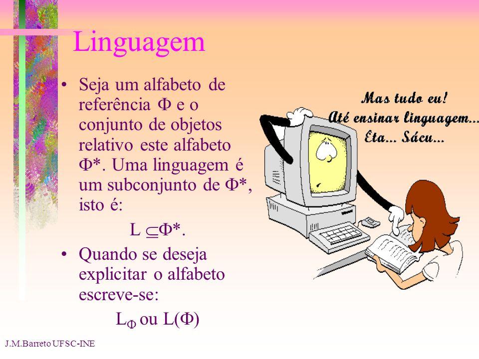 J.M.Barreto UFSC-INE Linguagem Seja um alfabeto de referência e o conjunto de objetos relativo este alfabeto *. Uma linguagem é um subconjunto de *, i