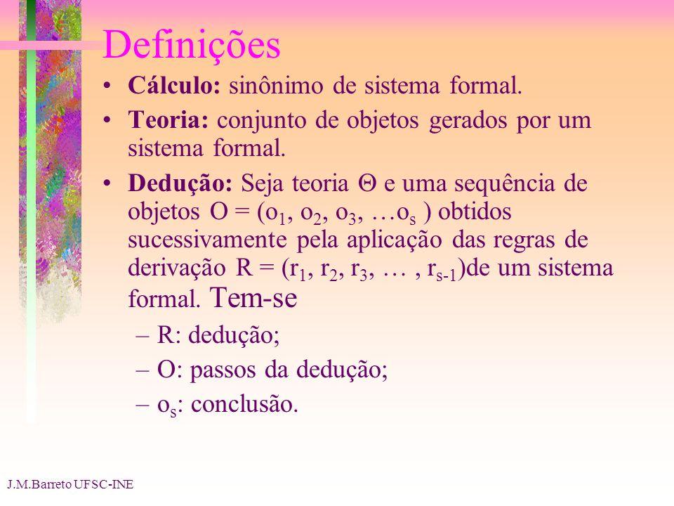 J.M.Barreto UFSC-INE Definições Cálculo: sinônimo de sistema formal. Teoria: conjunto de objetos gerados por um sistema formal. Dedução: Seja teoria e