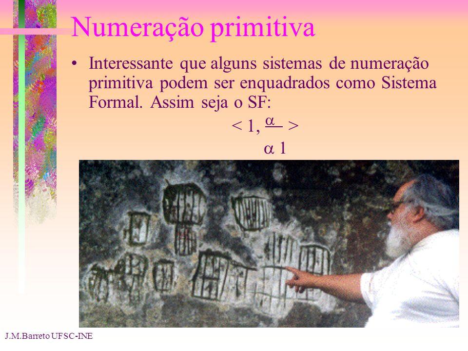 J.M.Barreto UFSC-INE Numeração primitiva Interessante que alguns sistemas de numeração primitiva podem ser enquadrados como Sistema Formal. Assim seja