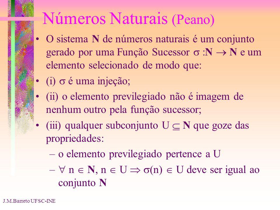 J.M.Barreto UFSC-INE Números Naturais (Peano) O sistema N de números naturais é um conjunto gerado por uma Função Sucessor :N N e um elemento selecion