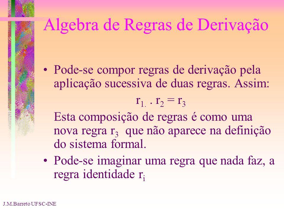 J.M.Barreto UFSC-INE Algebra de Regras de Derivação Pode-se compor regras de derivação pela aplicação sucessiva de duas regras. Assim: r 1.. r 2 = r 3