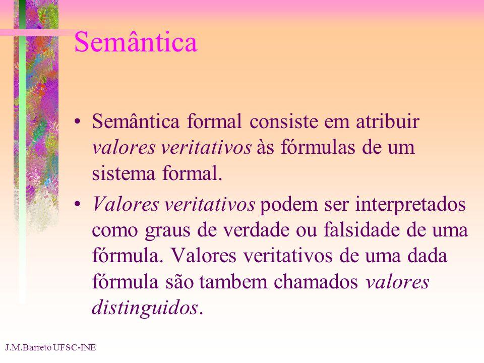 J.M.Barreto UFSC-INE Semântica Semântica formal consiste em atribuir valores veritativos às fórmulas de um sistema formal.