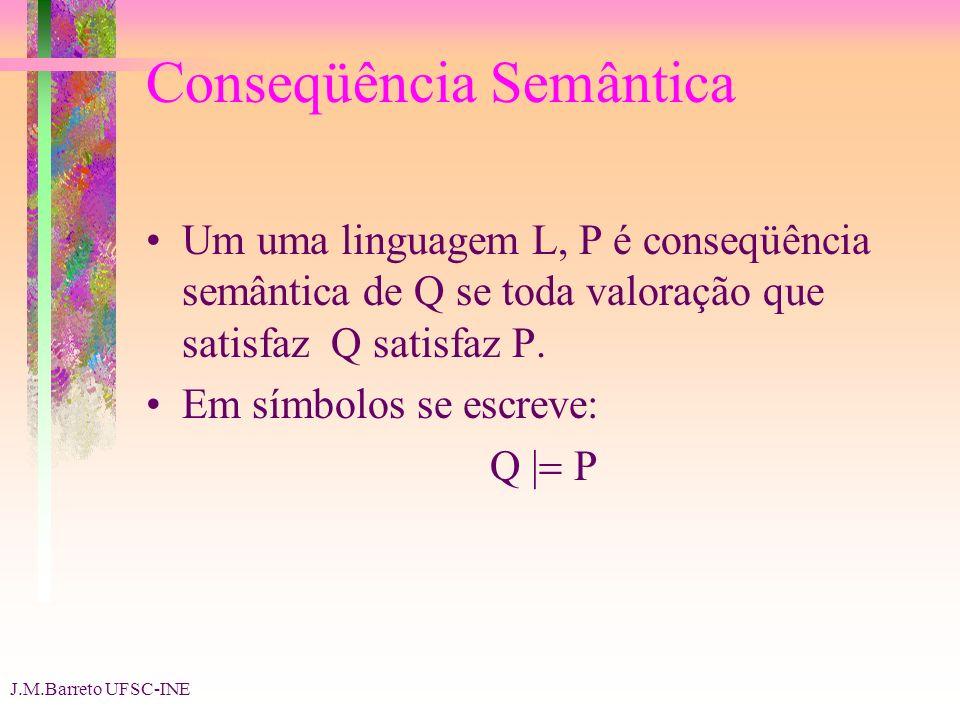 J.M.Barreto UFSC-INE Conseqüência Semântica Um uma linguagem L, P é conseqüência semântica de Q se toda valoração que satisfaz Q satisfaz P. Em símbol
