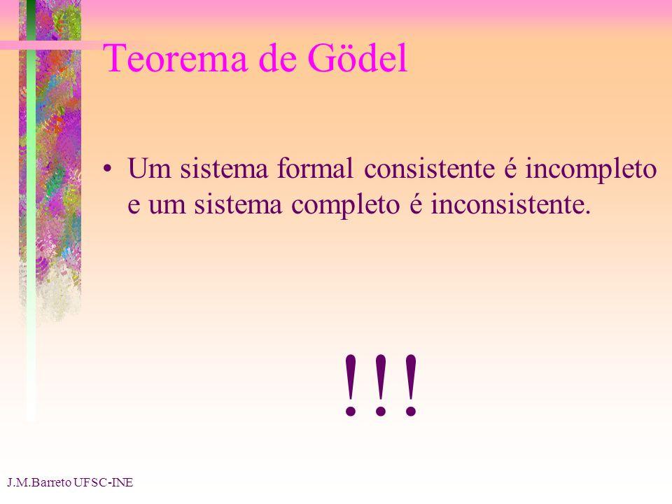 J.M.Barreto UFSC-INE Teorema de Gödel Um sistema formal consistente é incompleto e um sistema completo é inconsistente.