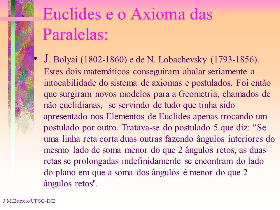 J.M.Barreto UFSC-INE Euclides e o Axioma das Paralelas: J. Bolyai (1802-1860) e de N. Lobachevsky (1793-1856). Estes dois matemáticos conseguiram abal