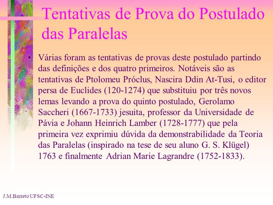 J.M.Barreto UFSC-INE Tentativas de Prova do Postulado das Paralelas Várias foram as tentativas de provas deste postulado partindo das definições e dos