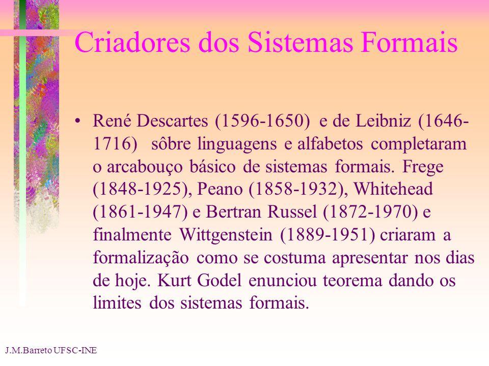 J.M.Barreto UFSC-INE Criadores dos Sistemas Formais René Descartes (1596-1650) e de Leibniz (1646- 1716) sôbre linguagens e alfabetos completaram o arcabouço básico de sistemas formais.