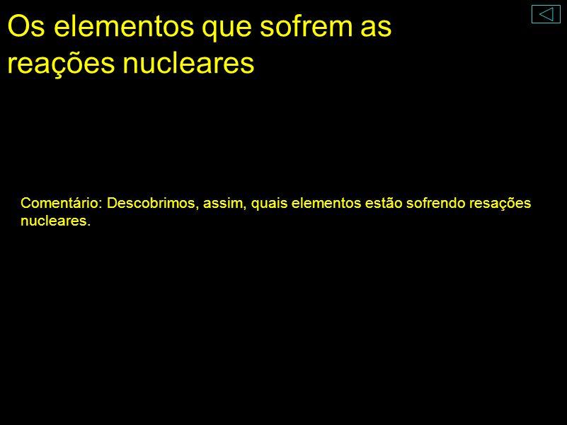 Os elementos que sofrem as reações nucleares O número de elementos que poderia estar sofrendo reações nucleares foi reduzido drasticamente. + + + Prót